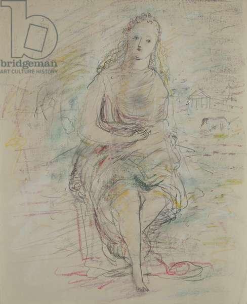 Seated girl, c.1950 (pencil & coloured crayon)