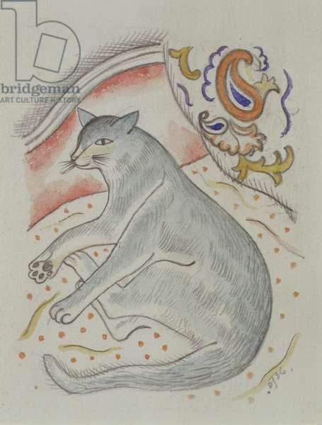 Reclining cat, 1926 (w/c over pencil)