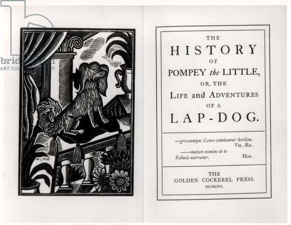 Pompey the Little, frontispiece and titlepage to Francis Coventry's 'The History of Pompey the Little, or, the Life and Adventures of a Lap-Dog', pub. by The Golden Cockerel Press, 1926 (woodcut)