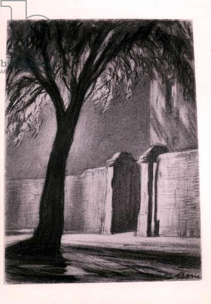 Suburban Night, c.1920 (charcoal)