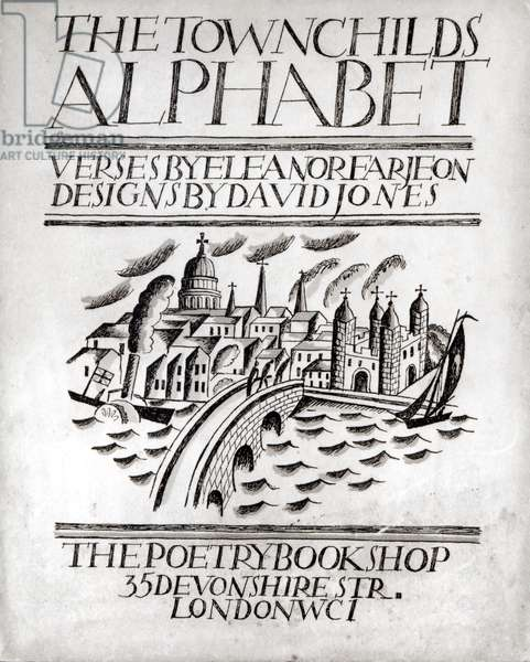 The Townchilds Alphabet, cover for a book of verses written by Eleanor Farjeon (1881-1965), pub. by Poetry Bookshop, 1924 (wood engraving)
