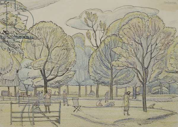 An afternoon in the park, 1921 (pen & black ink & pastels)