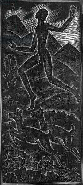 Fuge, dilecti mi for canticum canticorum (In my flight sing songs of singers for my delight), 1930 (wood engraving)