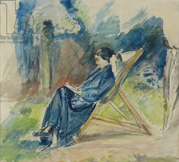 Femme au chaise longue, c.1935 (w/c)