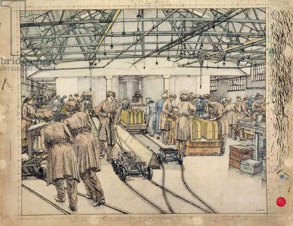 The Filling Factory, Hereford, 1918 (w/c and crayon)