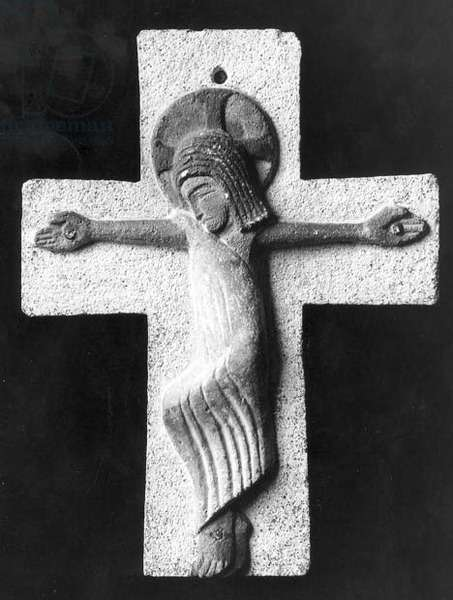 Crucifix by Eric Gill (1882-1940), 1913-14 (limestone with blue, black and brown colouring)