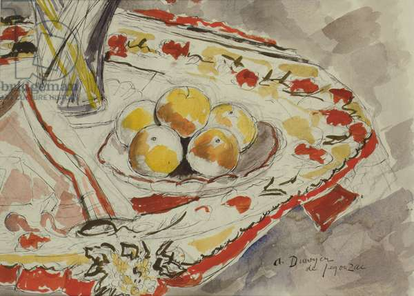 Still life with apples, c.1950 (pencil, ink & w/c on paper)