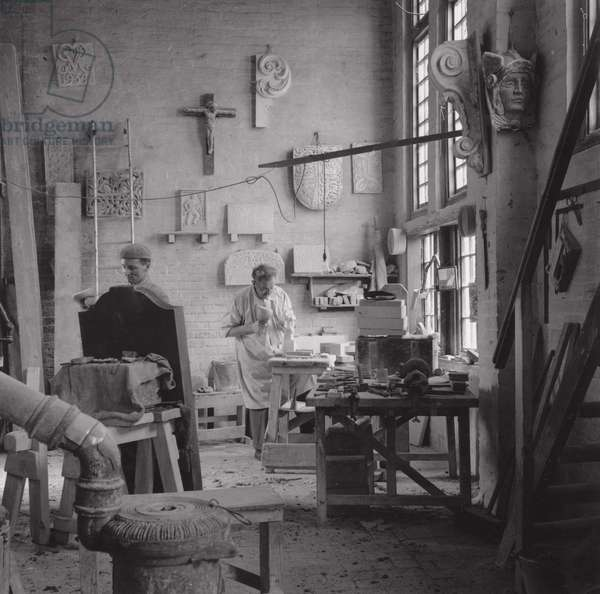 Joseph Cribb in the stonemason's studio, UK, 1950s (b/w photo)