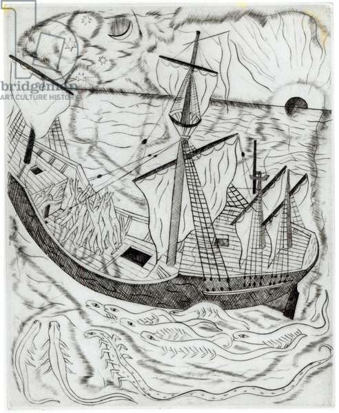 The Mariners, illustration for Samuel Taylor Coleridge's 'The Rime of the Ancient Mariner', pub. 1928/29 (copper engraving)
