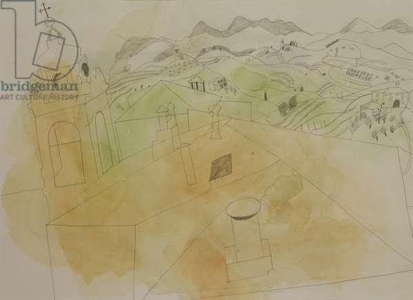 Perugia, 1969 (pencil & w/c on paper)
