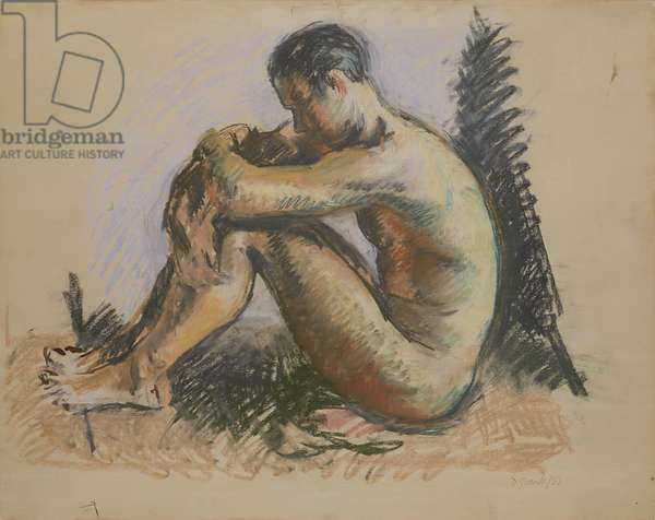 Seated nude, 1933 (brush, black ink & pastel on paper)