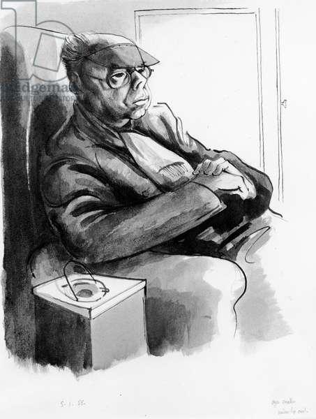 Portrait of Wyndham Lewis, 1955 (pen & ink with wash)