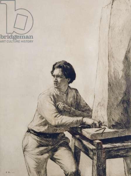 Portrait of Jacob Epstein (1880-1959) 1909 (drypoint etching in dark brown ink)