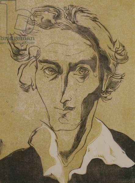 Self portrait, 1949 (wood engraving and lino block)
