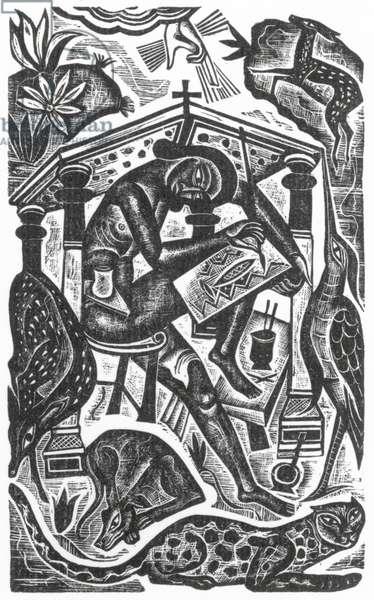 The Artist, 1927 (wood engraving)