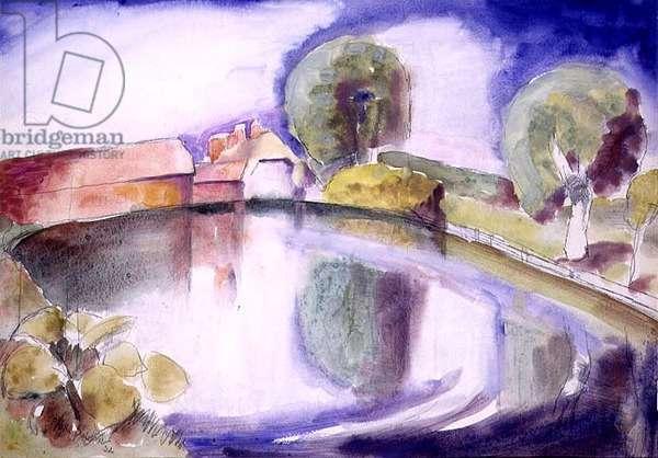 The Farm Pond, 1932 (w/c)
