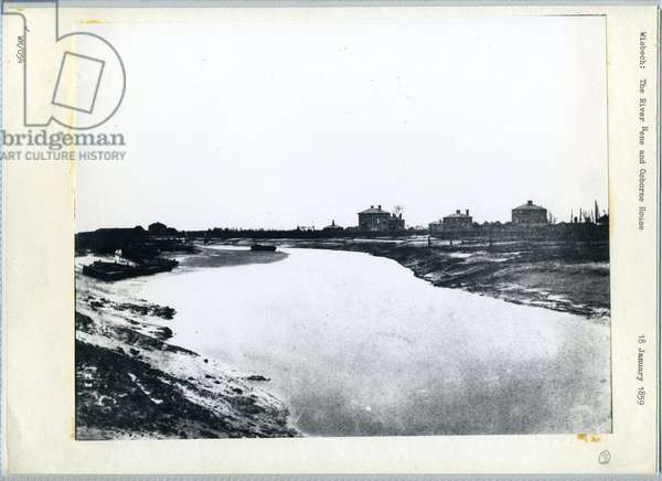 The River Nene and Osborn House, Wisbech, Cambridgeshire 1859 (b/w photo)