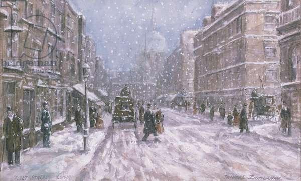 Fleet Street, London (w/c and gouache on paper)