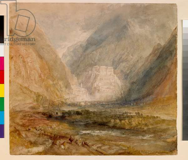 Fort Bard, Val D'Aosta, c.1836 (w/c over pencil on paper)