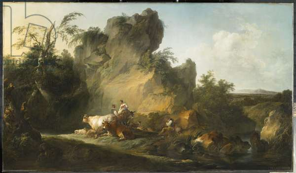 Landscape with figures, 1763 (oil on canvas)
