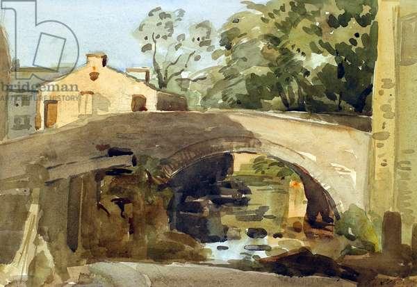 Hawes Bridge, Wensleydale, 1904 (w/c over pencil on paper)