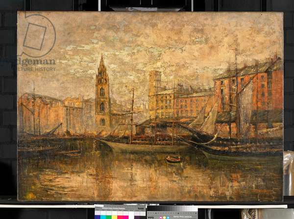Old St George's Dock, Liverpool, Site of the Present Liver Building, 1913 (oil on canvas)
