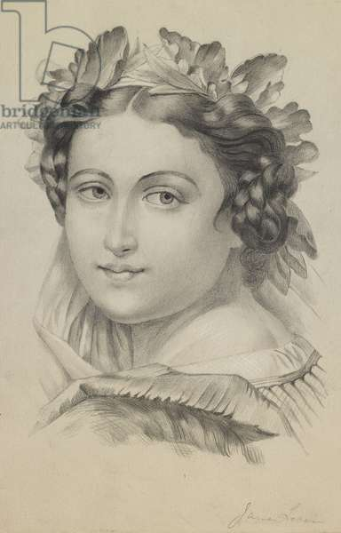Head and shoulders of a woman wearing a wreath, face turned to the viewer, c.1860s-90s (pencil, black chalk & black w/c with heightening on paper)