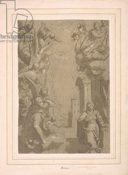 Annunciation cartoon (pen & ink with wash)