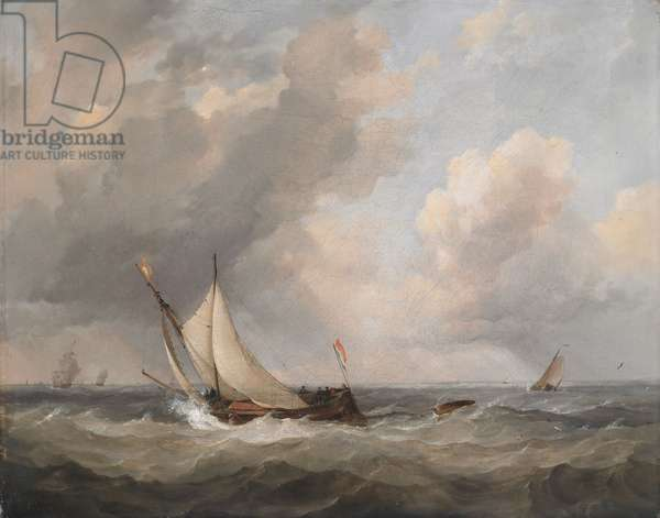 Dutch boats beating into the scheldt, 1842 (oil on canvas)