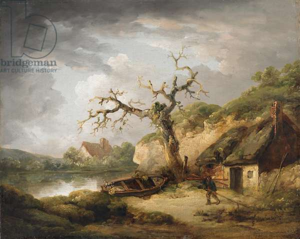 Lake scene with cottage, 1790-1800 (oil on canvas)