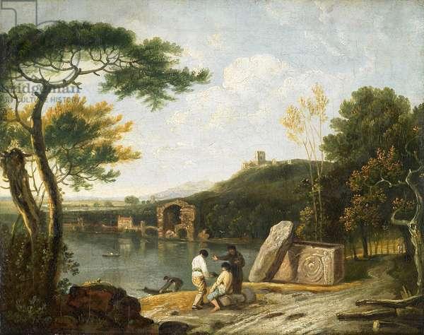 Classical Landscape, Lake Avernus (oil on canvas)