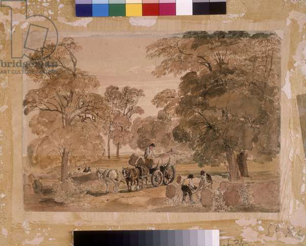 Felling trees in a park, a sketch, c.1820 (w/c over pencil on paper)