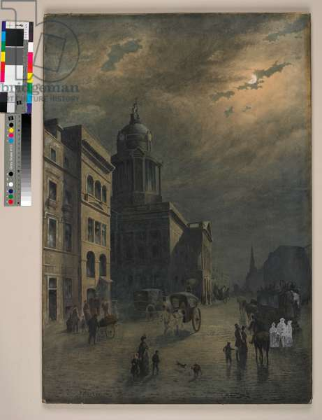 Liverpool Town Hall By Moonlight (w/c on paper)