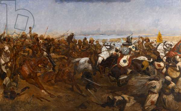 The Charge of the 21st Lancers at the Battle of Omdurman, 1898 (oil on canvas)