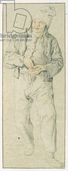 Young man filling pipe (coloured pencil on paper)