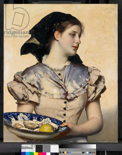 The Oyster Girl, 1882 (oil on panel in bevelled wood)