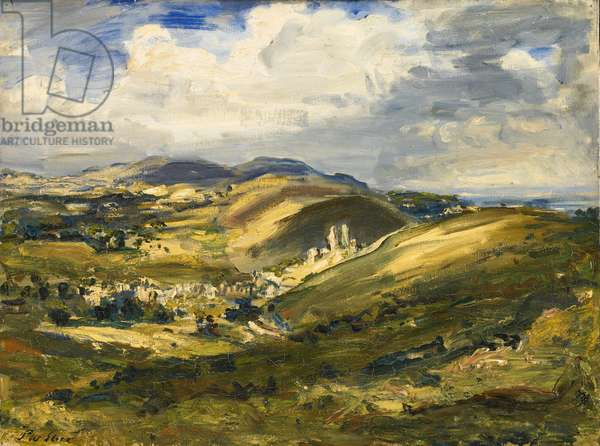 Corfe Castle and the Isle of Purbeck, 1908 (oil on canvas)