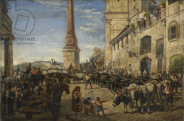 Oxen drawing a block of marble to the studio of John Warrington Wood in Rome, 1872 (oil on canvas)