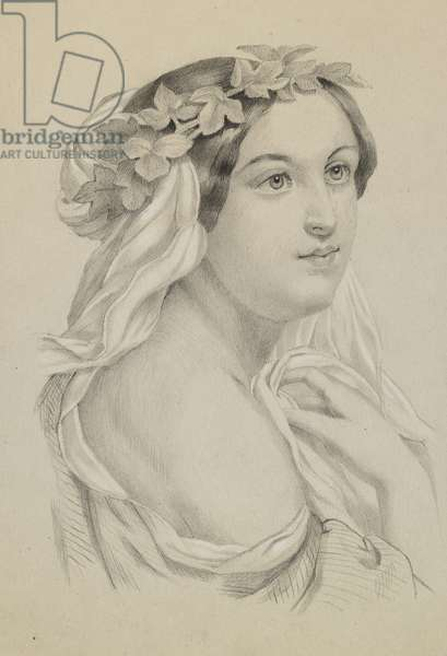 Head of a woman wearing a wreath and drapery, c.1860s-90s (pencil with black w/c & white heightening on paper)