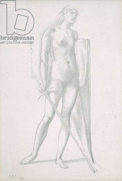 Nude full-length and study for Fortitude, holding long shield and sword, c.1870 (pencil on paper)