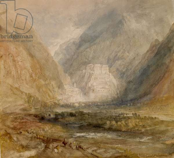 Fort Bard, Val d'Aosta, probably 1836 (w/c over pencil on paper)