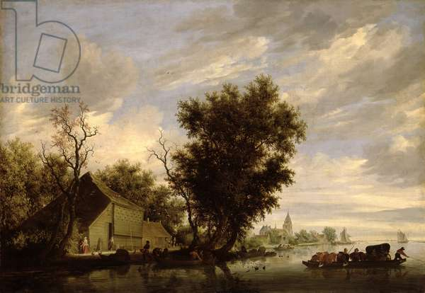 River Scene with a Ferry Boat (oil on panel)