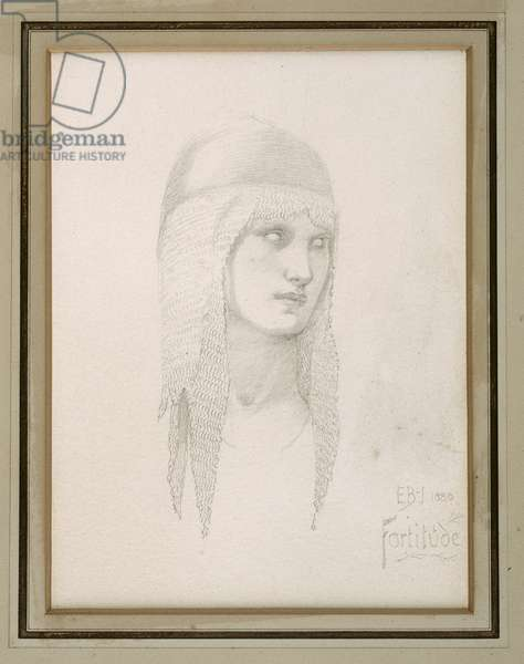 Head study for Fortitude, wearing helmet, c.1870 (pencil on paper)