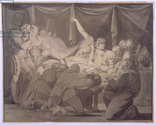The Death of Cardinal Beaufort, 1772 (pen, ink, pencil & grey wash on paper)