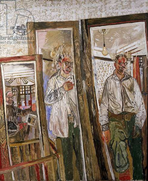 Three Self Portraits with a White Wall, 1957 (oil on canvas)