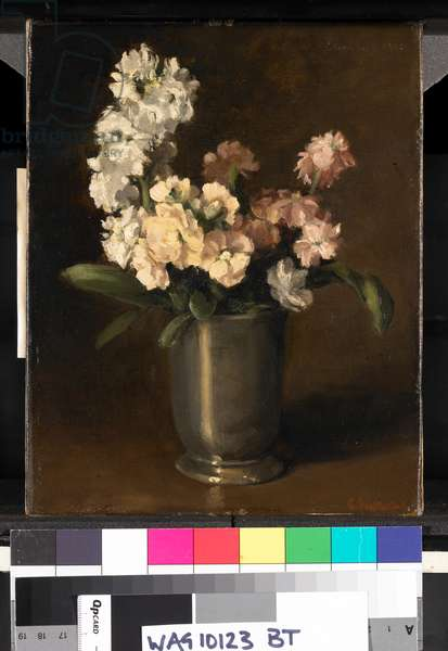 Pink and White Stocks in Pewter Vase, 1908 (oil on canvas)