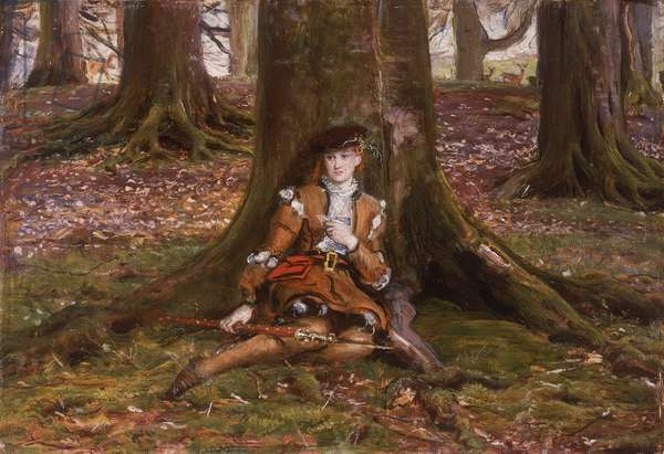 Rosalind in the Forest, c.1868 (oil on board)