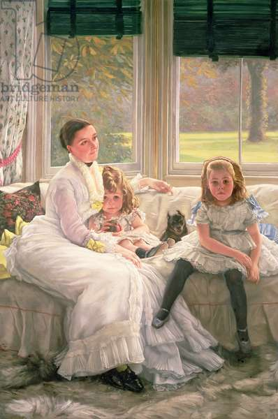 Portrait of Mrs Catherine Smith Gill and Two of Her Children, 1877 (oil on canvas)