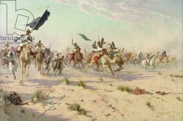 The Flight of the Khalifa after his Defeat at the Battle of Omdurman, 2nd September 1898, 1899 (oil on canvas)