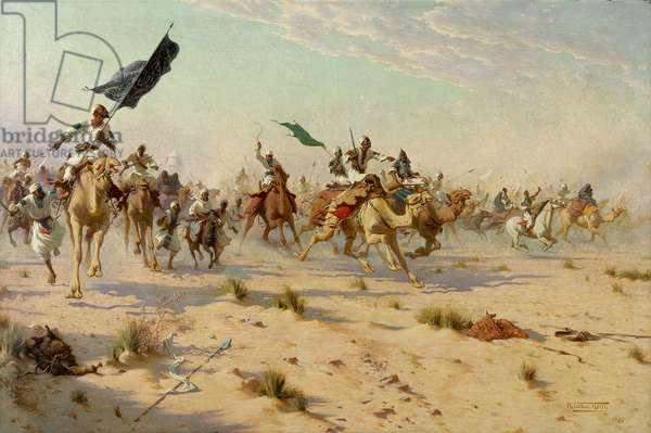 The Flight of the Khalifa at the Battle of Omduran, 1898 (oil on canvas)